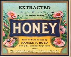 Honey - Boyd Honey Label  Pretty Labels to wrap around tin cans!