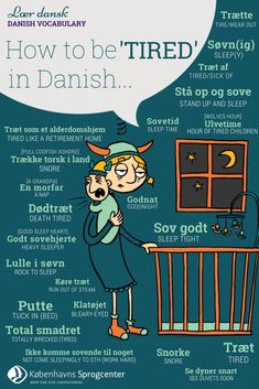 How to be tired in Danish - Kbh Sprogcenter Speak Danish, Danish Words, Studyblr, Danish Language Learning, Denmark Hygge, Copenhagen Travel, Danish Christmas, Visit Denmark, Scandinavian