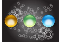 Shiny Balls -  Colorful vector balls for festive or promotion themes. Round objects with shines and reflections. Bright colors and clear outlines on the 3 balls. Background with many circles in different sizes. Free vector design elements for all geometric graphics, apps, patterns or round object designs.  - https://www.welovesolo.com/shiny-balls/?utm_source=PN&utm_medium=welovesolo%40gmail.com&utm_campaign=SNAP%2Bfrom%2BWeLoveSoLo