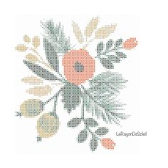 Poppy flower with green and fruits cross stitch pattern