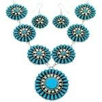 Navajo Indian Turquoise Jewelry Link Necklace Earrings Set MW75445