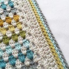granny stripe blanket with camel stitch border
