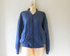 Silk Bomber Jacket Blue Bomber Jacket Women by TheVilleVintage, $55.00
