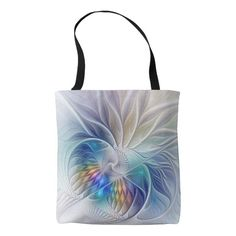 Floral Fantasy, abstract and modern Fractal Art Tote Bag