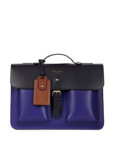HARLEMM | Mixed leather satchel - Purple | Bags | Ted Baker