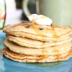 Oatmeal Pancakes II - Allrecipes.com.  Works well with white whole wheat flour and milk + lemon juice