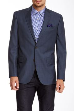 Jones Solid Blue Two Button Notch Lapel Wool Blazer on HauteLook