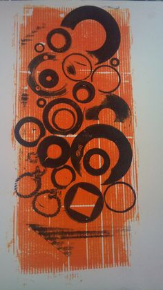 collagraph print of cogs, circles, washers and plugs #collagraph #printing #printmaking #circles #cogs #holes #orange #washers #plugs #textiles #art