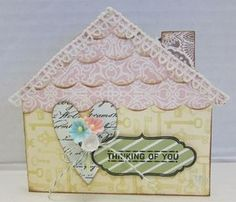 Thinking of You card - don't you love this adorable AccuCut house die?  Yep, we have this die that you can use in our crop room at Paradise Scrapbook Boutique in Chico, CA!