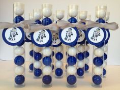 Skate Party anyone! Lego Hockey Skater inspired Gumball Tube Favors made for a Skate Party! Gumball Tubes for crafting favors available at our Etsy Store EnchantedKidsParties, Hockey Birthday Parties, Birthday Party Treats, Hockey Party, Boy Party Favors, Unique Party Favors, Birthday Themes For Boys, Boy Birthday, Lego Hockey, Hockey Mom