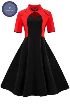 NAME YOUR OWN PRICE -Sisjuly women dress patchwork short sleeve sweetheart red black dress chinese style elegant female 2018 women's vintage dress Robes Vintage, Vintage 1950s Dresses, Retro Dress, Vintage Outfits, 60s Dresses, 50s Vintage, Vintage Clothing, Knee Length Dresses, Collar Dress