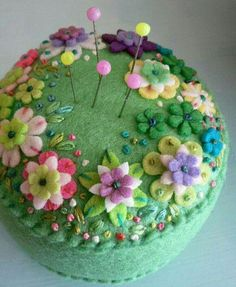 Green Felt Pincushion with Flowers, Embroidery & Beads Decoration ....