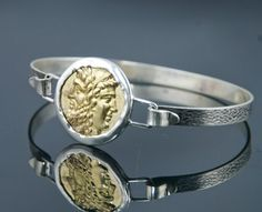 Ancient Coin Bracelet - Janice Coin - 18K GOLD - 925 Sterling Silver - Men and Womens Coin Bracelet