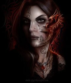 digital warrior woman with tattoo | To find out more Anne Stokes, visit her website . Amazing dragon ...