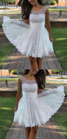 White Lace Prom Dress, Cute Homecoming Dress, A-Line Prom Dress, Lace Prom Dress, 2018 Homecoming Dress, Homecoming Dresses 2018 #CuteHomecomingDress #LacePromDress #2018HomecomingDress #ALinePromDress #HomecomingDresses2018 #WhiteLacePromDress