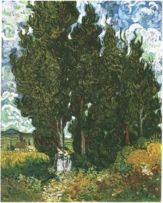Vincent van Gogh Cypresses with Two Female Figures Painting