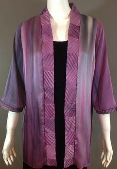 Hand dyed Silk Charmeuse Jacket with textured hand made collar. www.dodadesigns.com Dyed Silk, Silk Charmeuse, Color Blending, Shibori, Kimono Top, Clothing, Fabric, Cotton, Jackets