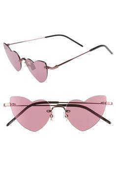 3d14f836385a Saint Laurent 50mm Rimless Heart Shaped Sunglasses