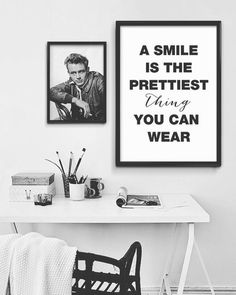 """Nordic Design """"A smile is the prettiest thing you can Wear"""" print, Scandinavian Print, Black and White Typography Print, Life Motto Poster Life Motto, Home Printers, Online Print Shop, Nordic Design, Frame It, Printable Art, Printables, Typography Prints, Posters"""