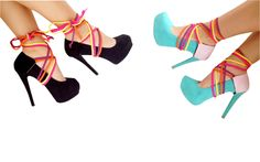 Roped up in vibrant colors! Cute and fun: purple, orange, yellow and fushia ropes with a reversible heel panty: black or pink suede! This style is versatile; it has the perfect combination of color and texture. Heeled Boots, Shoe Boots, Shoes Heels, Crazy Shoes, Me Too Shoes, Diy Fashion Shoes, Simple Shoes, Bling Shoes, Only Shoes