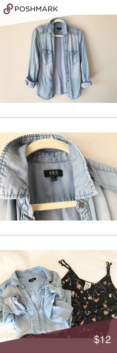 A.B.S // Distressed Chambray Denim Shirt A.B.S // Distressed Chambray Denim Shirt // Super soft as is Chambray ☺️ Great for layering! ABS Allen Schwartz Tops