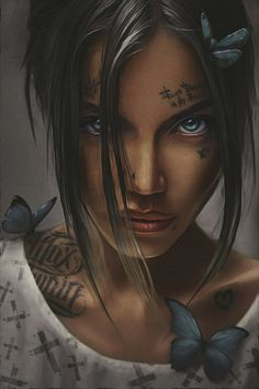This portrait reminds me of Beau, from Critical Role. Arte Dope, Dope Art, Tattoo Photoshop, Dope Kunst, Art Sketches, Art Drawings, Gangsta Girl, Chicano Art, Digital Art Girl