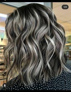 Brown Hair Going Grey, Ash Grey Hair, Black And Grey Hair, Brown Curly Hair, Going Gray, Ash Blonde, Purple Hair, Brown Hair With Silver Highlights, Highlights Curly Hair