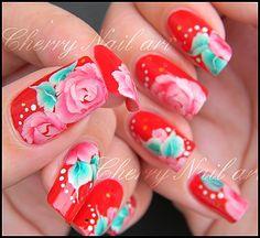 cherry-nail-art-design-roses-feuilles-fleur-one-stroke-styl.JPG