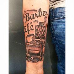 Barber pole tattoos for men tattoo inspiration for Barber neck tattoos