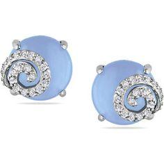 Miadora Silver Chalcedony 1/5ct TDW Diamond Earrings