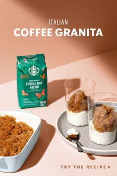 We like to imagine a trip to Italy in the spring would taste a lotlike this: exceptional coffee with a touch of vanilla, frozen into a refreshing granita and served with sweetened whipped cream. Just startwith new Starbucks Spring Day Blend, and the rest is history. Frozen Desserts, Frozen Treats, Coffee Granita Recipe, Yummy Treats, Yummy Food, Chocolate Shavings, Starbucks Drinks, Coffee Recipes, Barista