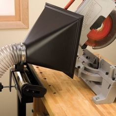 This miter saw dust collection set up is mobile and quick to set up anywhere!
