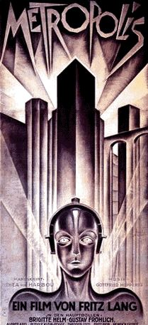 Metropolis (1927) is a stylized, visually-compelling, melodramatic silent film set in the dystopic, 21st century city of Metropolis - a dialectical treatise on man vs. machine and class struggle. Austrian director Fritz Lang's German Expressionistic masterpiece helped to develop the science-fiction genre, with innovative imagery from cinematographer Karl Freund, art design by Otto Hunte, Erich Kettelhut, and Karl Vollbrecht, and set design by Edgar Ulmer. It was the last of Lang's silent…