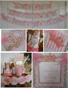 Princess Pink and Gold Birthday Party by ASweetCelebration Pink And Gold Birthday Party, 1st Birthday Princess, Girl Birthday, 1st Birthday Decorations, 1st Birthday Parties, Birthday Ideas, First Birthdays, Packaging, Party Package