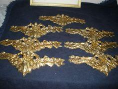 """Vintage set of 7 flower Ornate Brass for chandelier part 7.5"""" long"""