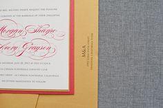 Modern Flat Wedding Invitation   Red and Gold  Morgan by LamaWorks