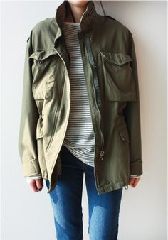 Death by Elocution: easy daily look, layored, simple style # Casual Outfits simple striped tee Fall Outfits, Casual Outfits, Cute Outfits, Tomboy Fashion, Fashion Outfits, Fashion Trends, Khaki Jacket, Cargo Jacket, Green Jacket