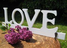 Love' White Wooden Coat Hook. 50% off! Was £7.99 now just £3.99! Wooden Coat Hooks, Spring Sale, Love S, Symbols, Letters, Letter, Lettering, Glyphs, Calligraphy