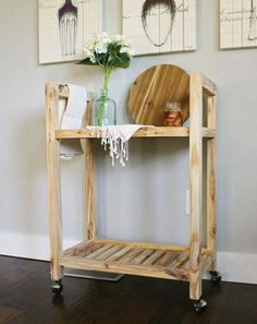 DIY Bar Cart from a Single Board projects beginner projects diy projects for kids projects furniture projects plans projects that sell Woodworking Table Plans, Small Wood Projects, Woodworking Projects That Sell, Popular Woodworking, Diy Pallet Projects, Woodworking Furniture, Furniture Projects, Diy Furniture, Furniture Plans