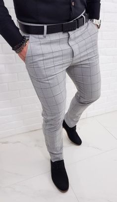 Best Casual Shirts, Smart Casual Wear, Formal Shirts For Men, Outfit Hombre Casual, Formal Men Outfit, Mens Plaid Pants, Men Trousers, African Men Fashion, African Wear