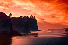 Ruby Beach; photograph by JD Hascup. Sunset at Ruby Beach, Olympic National Park