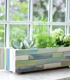 tutorial: painted wood shim planter box...love these colors!  {Centsational Girl}   *would also make a great gift & summer entertaining display piece!