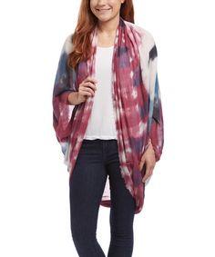 The Accessory Collective Burgundy Convertible Tie-Dye Kimono | zulily