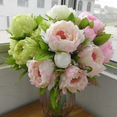 Peony bridal Bouquet wedding Party Table Centerpiece Silk Artificial Flower Arrangement