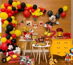 Gallery of Mickey Mouse Party Decoration Baby Shower Kids Birthday regarding Minnie And Mickey Mouse Birthday Party Decorations Mickey Mouse Birthday Decorations, Mickey Mouse Theme Party, Mickey 1st Birthdays, Fiesta Mickey Mouse, Mickey Mouse Clubhouse Birthday, Mickey Birthday, Birthday Kids, Mickey Mouse Desserts, Festa Mickey Baby