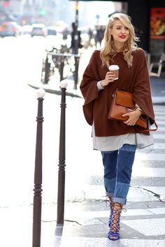 ohhcouture.com   Chloé Faye bag, patch word jeans, layering, blue strappy heels, oversized sweater, striped blouse   #pfw #ohhcouture #LeonieHanne