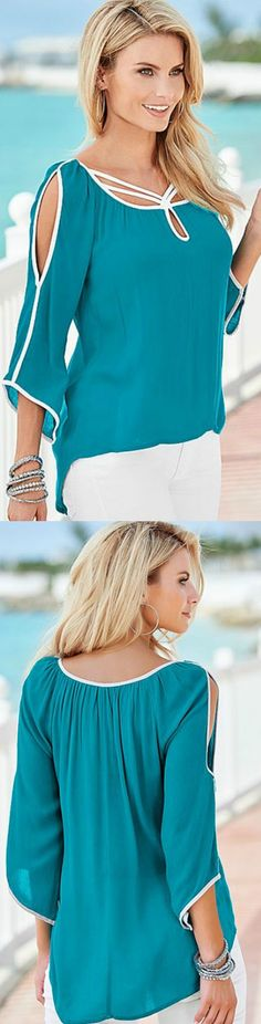 Summer Crewneck Tee Blouse! Click The Image To Buy It Now or Tag Someone You Want To Buy This For. #BlueBlouse