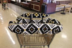 Shopping Cart Liner. Vibrant Aztec print in Black, White and Metallic Gold. Durable Home Decor fabric.  Shopping cart liner has padding inside for