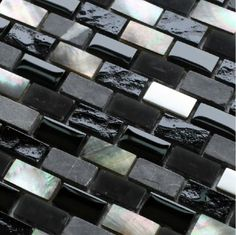 modern kitchen gray and black and silver tile backsplash | Grey stone mosaic black glass mosaic kitchen backsplash tile SGMT093 ...