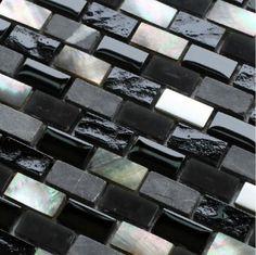 Modern Kitchen Gray And Black And Silver Tile Backsplash Grey Stone Mosaic Black Glass Mosaic